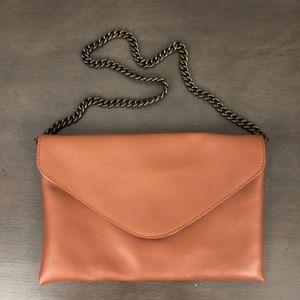 J. Crew Leather Envelope Clutch Chain Strap